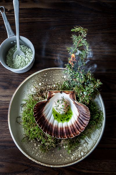 Restaurant studio, Burning Pine dish, Copenhagen, Danish style food photography
