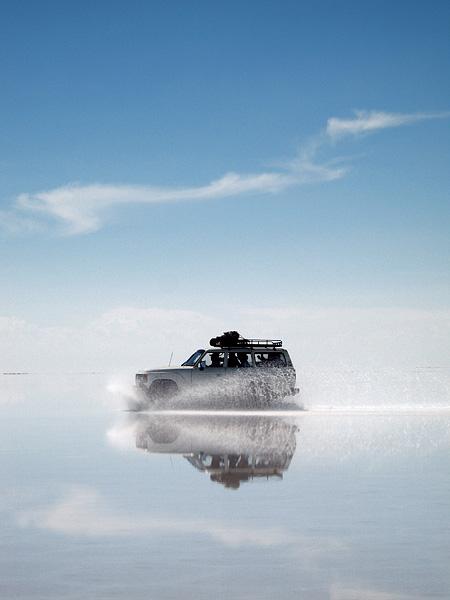 Travel photography, reflection, salt flats, bolivia