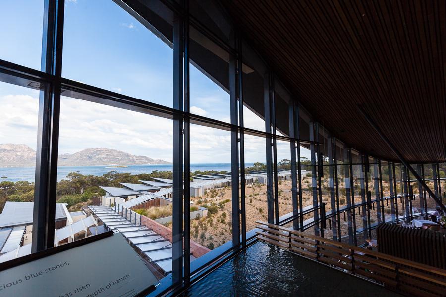 Tasmania hotel view, class wall, Saffire Freycinet, luxury hotel