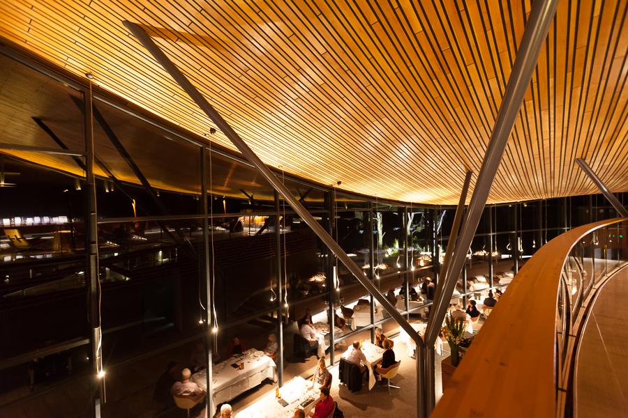 Tasmania, Saffire restaurant hotel, wooden ceiling, modern architecture