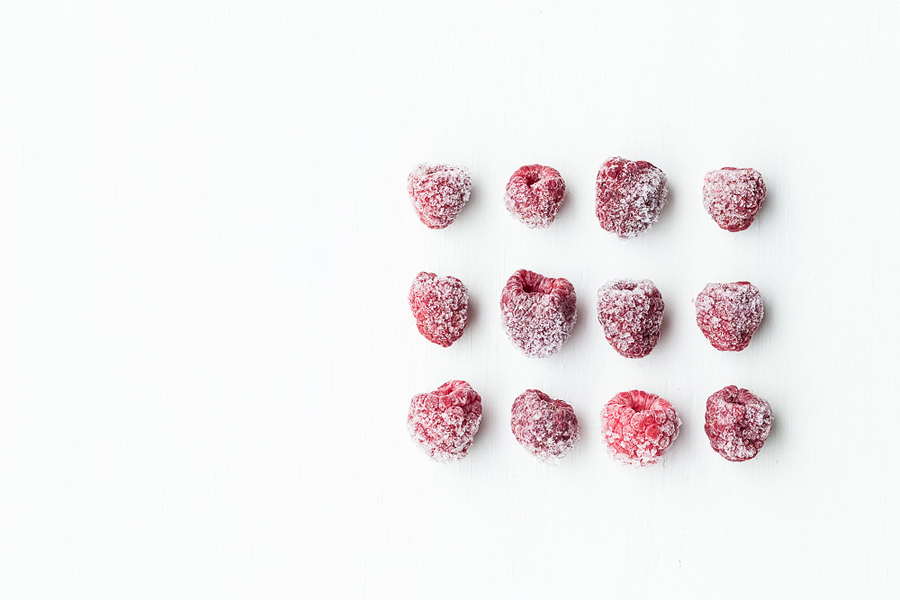 Berries, frozen, daylight food photography