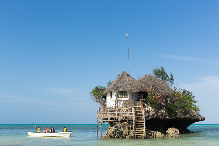 Travel photography Zanzibar, little restaurant in water