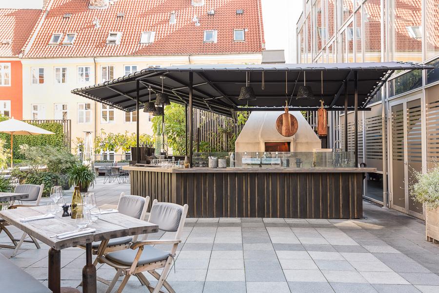 Hotel outdoor terrace bar, natural light, photographer Copenhagen, Skt. Petri
