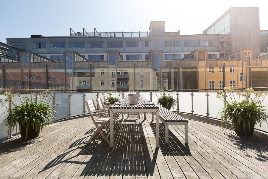 Hotel terrace, natural light, photographer Copenhagen, Skt. Petri