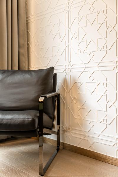Hotel interior, chair again wall, natural light, photographer Copenhagen, Skt. Petri