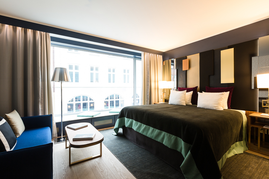 Hotel interior, blue sofa, natural light, photographer Copenhagen, Skt. Petri